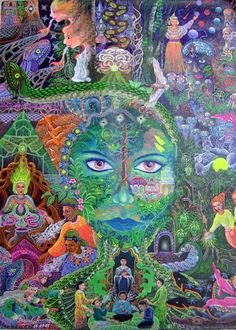 Pablo Amaringo | (1938-2009) trained as a curandero in the Amazon, healing himself and others from the age of ten, but retired in 1977 to become a full-time painter and art teacher at his Usko Ayar school in Pucullpa, Peru. The author of Ayahuasca Visions: The Religious Iconography of a Peruvian Shaman (1991), his art has been displayed throughout the world.