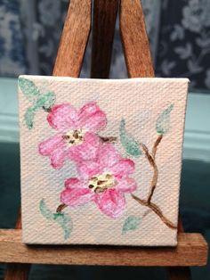 tiny canvas dogwood painting
