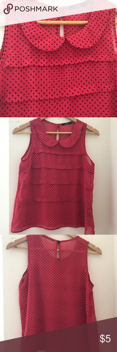 Papaya Red Polka Dot Ruffle Blouse Cute red blouse with black polka dots from Papaya. Ruffles in front. Key hold back. Sleeveless. See-thru material. 100% polyester. Made in USA. Size S. Note: Papaya is primarily a juniors brand so may be smaller than most adult smalls. Papaya Tops Blouses