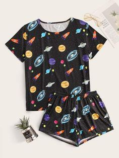 Galaxy Print Top & Shorts PJ SetCheck out this Galaxy Print Top & Shorts PJ Set on Romwe and explore more to meet your fashion needs! Cute Pajama Sets, Cute Pjs, Cute Pajamas, Pj Sets, Cute Lazy Outfits, Girl Outfits, Fashion Outfits, Gothic Fashion, Rock Outfits