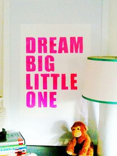 Ooh, I love this: Perfect sentiment for a baby's room. And loving the neon.