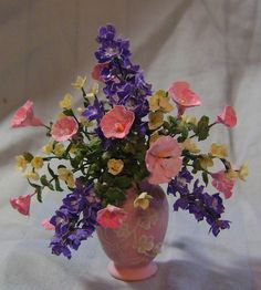 "Pink mix flowers 1"" scale  To contact artist: http://www.pinterest.com/minishirl/"