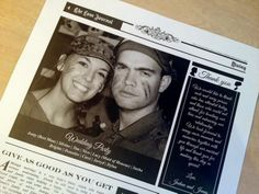 Cute couple photos combined with their wedding party list, advice from loved ones and a thank you note to their guests features on the back page of this Custom Written Wedding Newspaper ♥  ♥  ♥ LIKE US ON FB: https://www.facebook.com/NewsFavors  ♥  ♥  ♥ #WeddingFavor #Keepsake #Favor