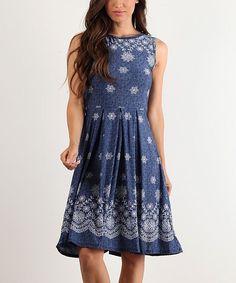Blue & White Paisley Sleeveless Dress
