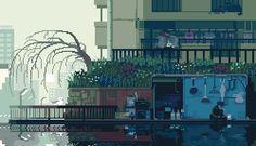 """坂井直樹の""""デザインの深読み"""": ゲームの場面を思い起こさせるようなドット絵で、日本の平凡にある日常の様子がgifアニメで描かれている。「和+ドット絵+gifアニメ」という組み合わせが絶妙だ。"""