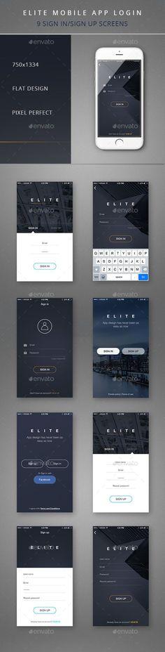 Elite Mobile App Login  (User Interfaces)