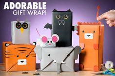 Personified Gift Wrapping : Animal Gift Wrap Kit