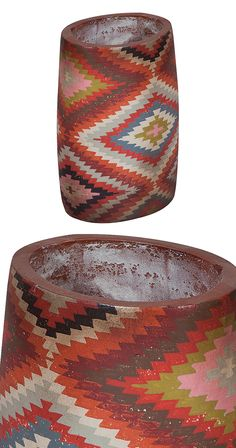 Liven up your kitchen counter top or a bare wood table space with the Nivea Vase. This terra cotta urn features the vibrant colors and patterns of the Southwest. It's the perfect vessel for a selection...  Find the Nivea Vase, as seen in the Handwoven Bohemian Home Collection at http://dotandbo.com/collections/handwoven-bohemian-home?utm_source=pinterest&utm_medium=organic&db_sku=115963