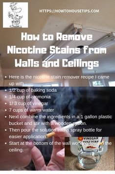 Here is my all purpose DIY cleaner recipe to remove nicotine from walls or your ceiling . You can also use this as an all purpose diy cleaner for you kitchen or bathroom. #diy cleaner #all purpose diy cleaner #diy cleaner recipe