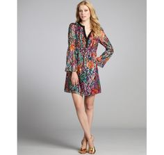 Phoebe Couture black bohemian print silk and lurex tunic dress