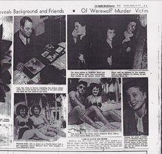 Newspaper coverage of The Black Dahlia case. Murder Stories, Newspaper Headlines, Black Dahlia, Cold Case, The Victim, Vintage Maps, True Crime, Mug Shots, Candy Colors