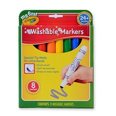 Crayola My First Crayola Washable Markers 8ct - Bold Colors and cool designs are included on the magic paper Cute characters for added play value No wait time designs reveal upon contact