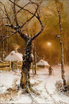 """Moon light Winter landscape"" Painter By Julius Klever Winter Painting, Winter Art, Winter Night, Snow Scenes, Winter Scenes, Paintings I Love, Beautiful Paintings, All Nature, Russian Art"