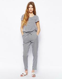 Only Printed Tie Waist Jumpsuit