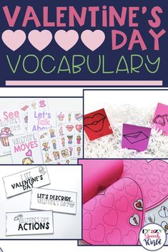 Valentine's Day vocabulary activities for preschool and early elementary students! Includes 4 interactive lessons for speech therapy, all using the same nouns, verbs, and adjectives related to the topic.