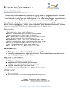 University of Dallas Career Services • @UofDallas intern with Reading Partners! (3 pages...