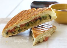 Eggplant Panini with Pesto - a perfect summer panini! deeeeelicious. I swapped the processed mozzarella for one slice of fresh, which was an excellent addition. I also love the pesto linked into this recipe. Sandwich Recipes, Lunch Recipes, Veggie Recipes, Soup And Sandwich, Vegetarian Recipes, Healthy Recipes, Cooking Recipes, Healthy Lunches, Cooking Time