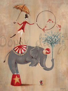 Vintage Circus Elephant - Animals Canvas Wall Art | Oopsy daisy