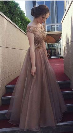 On Sale Comfortable Long Prom Dress Cap Sleeves Open Back Rhinestones Long Prom Dresses Formal Party Dress Long Prom Dresses Uk, Grad Dresses, Homecoming Dresses, Bridesmaid Dresses, Dress Long, Dress Formal, Backless Dresses, Brown Formal Dresses, Formal Evening Dresses