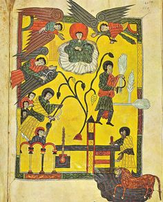 """Folio 12 recto, the great winepress of God """"Thrust in thy sickle, and reap: for the time is come for thee to reap; for the harvest of the earth is ripe."""" (14:15), in the Escorial Beatus. B Escorial 120."""