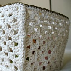 Granny Square Crochet Box. Would be great to store blankets in near the couch in the living room.