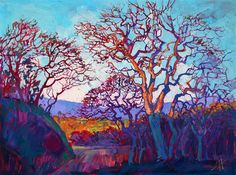 Prismatic color and thick brush strokes communicate California wine country, painting by Erin Hanson