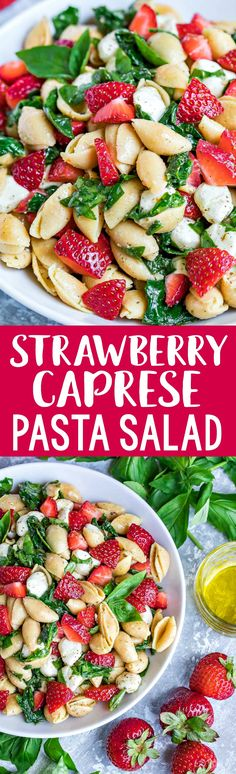 This scrumptious Strawberry Spinach Caprese Pasta Salad features gluten-free Chickapea Pasta for a healthy lunch that's vegetarian + gluten-free too!