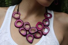 Hand woven tagua rustic rings bib necklace by OrganicjewelrybyAlli, $54.00
