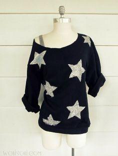 SUPER easy DIY sweatshirt.  iLoveToCreate Blog: You're a Star, Sweatshirt DIY