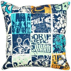 The surfing lifestyle is captured in this retro-surfing themed patchwork pillow in wonderful shore colors.