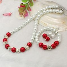 Fashion Glass Pearl Jewelry Sets: Earrings, Necklaces and Stretchy Bracelets, with Brass Rhinestone Beads