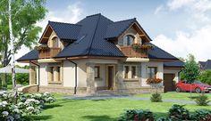 Projekt domu z poddaszem Damokles o pow. 140,59 m2 z garażem 1-st., z dachem kopertowym, z tarasem, sprawdź! Beautiful House Plans, Beautiful Homes, Rooftop Garden, Good House, Home Fashion, Log Homes, Modern House Design, Home Builders, Home Projects