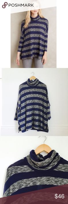 Postmark turtleneck Mila Turtleneck by Postmark. Striped in navy and gray. Pullover styling. Rayon, polyester, spandex knit. Size M. NEW WITH TAGS. Anthropologie Tops