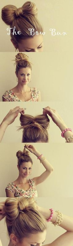 How to make a bow bun out of your hair :)   Why use a ribbon when you could turn your hair into an actual bow instead? This trend is sweeping the globe, turning everyday hair into a work of art.Here's how to shape your hair into a cute bow.