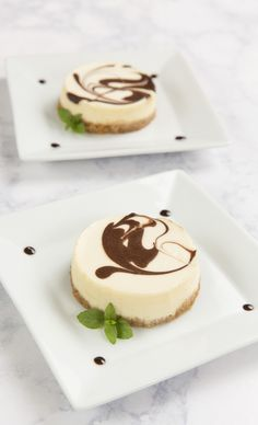 Yum! Vanilla, Chocolate, Mint Cheesecake. Place the desserts on a couple of white plates. This makes a romantic presentation for dessert after a special dinner. Inspired by the movie Burnt in select theaters October 23 and everywhere October 30!