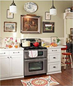 Like art in a kitchen.  artwork in kitchen country living