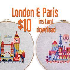 London and Paris Ten Dollars Modern Cross by SatsumaStreet