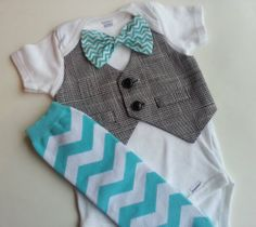 Baby boy onesie with a vest attached,chevron bow and leg warmers!