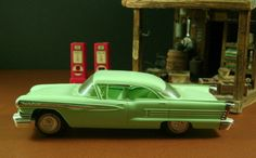 1958 Oldsmobile 98 Dealer Promotional Model Car featured model date is 1958 is approx: 8 long (standard dealer promo size) NICE JoHan plastic model car, has obviously seen limited handling. Features the 58 Olds 98 4dr Holiday in a LIGHT GREEN... AMAZING time warp condition for a 50s? (some were re-popped) plastic dealer promo from JoHan and I would easily give this model a Very good grade in its type category and from this time period with the KNOWN factors found on ALL plastic promos of…