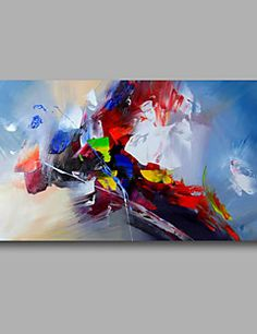 """Ready to hang Stretched Hand-Painted Oil Painting Canvas 40""""x20"""" Wall Art Abstract Yellow Red Light Blue"""