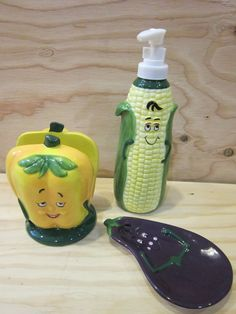 Set of WMG 07 Ceramic Bell Pepper Napkin Holder, Corn Soap Dispenser and Eggplant Spoon Rest by RainbowConnection15 on Etsy