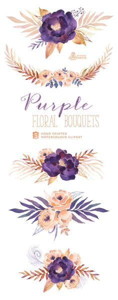 Purple Floral Bouquets: Digital Clipart Pack. Hand painted, watercolour flowers, wedding diy elements, flowers, invite, printable, blossom – #cop21 #globalwarming #climatechange More at http://www.GlobeTransformer.org