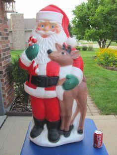 "40"" TPI Santa Reindeer Xmas Blowmold Light Plastic Outdoor Decor Yard Lawn Vtg"