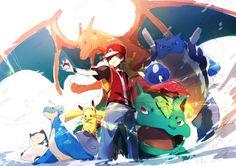 Red and his team: Charizard, Venusaur, Blastoise, Lapras, Pikachu and Snorlax Pikachu Pikachu, Pokemon Go, Fotos Do Pokemon, Anime Pokemon, Pokemon Pins, Pokemon Games, Cute Pokemon, Pokemon Gijinka, Charmander