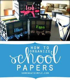 How to keep all those school papers that your kids bring home organized and contained. Via Somewhat Simple