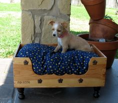 Dog Bed Cat Bed Pet Bed Wine Box Recycled Up-cycled Wooden Wine Box. $85.00, via Etsy.