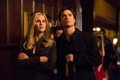 "The Vampire Diaries ""Bring It On"" -- Pictured (L-R): Claire Holt as Rebekah and Ian Somerhalder as Damon -- Image Number: VD416b_0059.jpg  Photo: Bob Mahoney/The CW -- © 2013 The CW Network, LLC. All rights reserved."