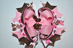 CHOCOLATE EASTER BUNNY Hair Bow  Boutique by urbanfrillsboutique, $8.50