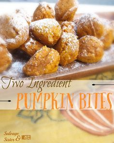 Need a quick pumpkin treat? These TWO INGREDIENT PUMPKIN BITES will do the trick. REALLY two ingreedients! Quick and easy recipe. Great for Halloween or Thanksgiving. You can use this to use up leftover pumpkin puree too. Recipe Using Pumpkin, Pumpkin Puree Recipes, Pureed Food Recipes, Gourmet Recipes, Recipes With Canned Pumpkin, Pumpkin Recipes Easy Quick, Pumpkin Uses, Brunch Recipes, Breakfast Recipes