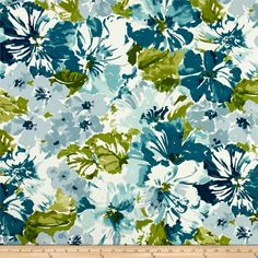 Bryant Indoor/Outdoor Summer Garden Mallard from @fabricdotcom  Screen printed on polyester, this fabric holds up to 500 hours of sunlight exposure, resists stains and is water resistant. Create chair pads, toss pillows, tabletop and tote bags. To maintain the life of the fabric bring indoors when not in use. This fabric can easily be cleaned by wiping down or hand washing with warm water and a mild soap solution, simply rinse with clear water to prevent dirt from embedding itself into the…